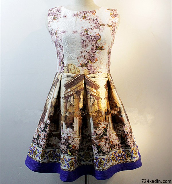 New-Spring-Summer-2014-Runway-Dress-Princess-Type-Sleeveless-Vintage-Baroque-Floral-Print-Jacquard-Dress-For