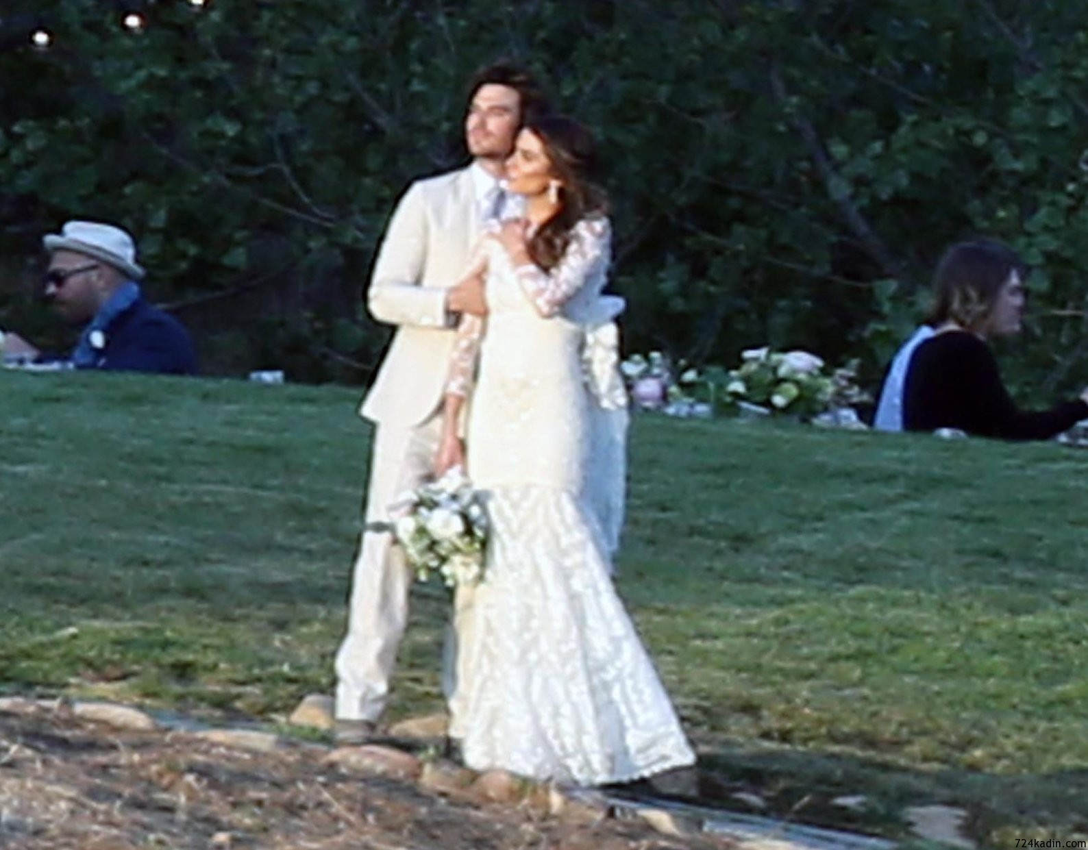 EXCLUSIVE:  **PREMIUM RATES APPLY** Nikki reed and Ian somerhalder get married at a romantic sunset ceremony in the Santa Monica mountains.