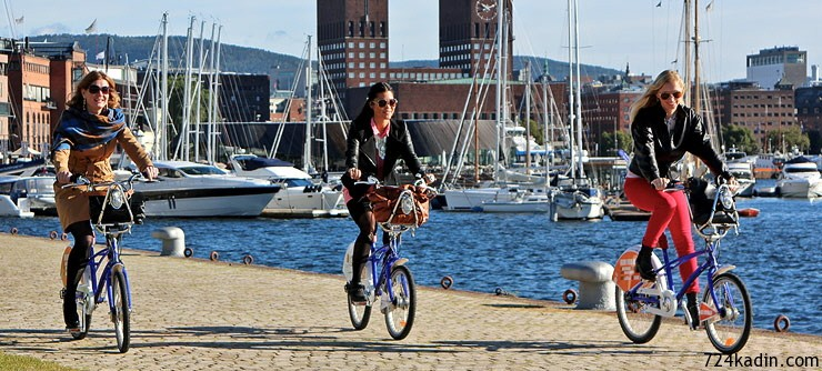 oslo bicycling aker brygge norway